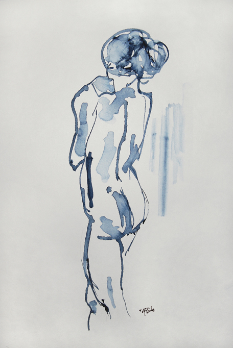 """""""Blå kvinna Nr. 3"""". Sold. Watercolor."""