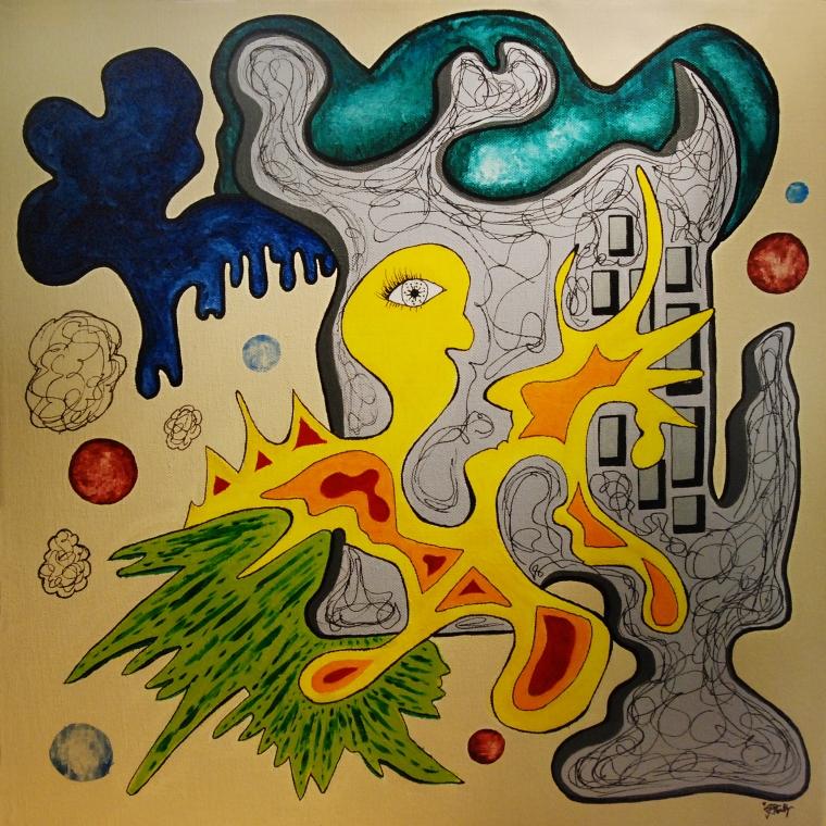 """Birdie"" Acrylic, 50x50cm, 2013."