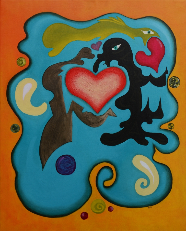 """Kärleksvampyr"" Oil, 100x81cm, 2013."