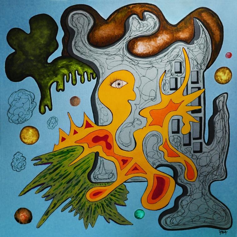 """Birdie Blue"" Mixed media, 50x50cm, 2014."